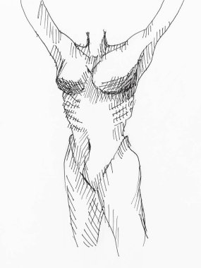 sketch of female torso with raised hands