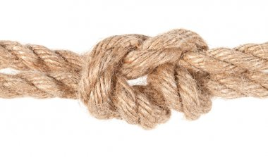 surgeon's knot joining two ropes close up isolated