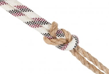 another side of surgeon's knot joining ropes
