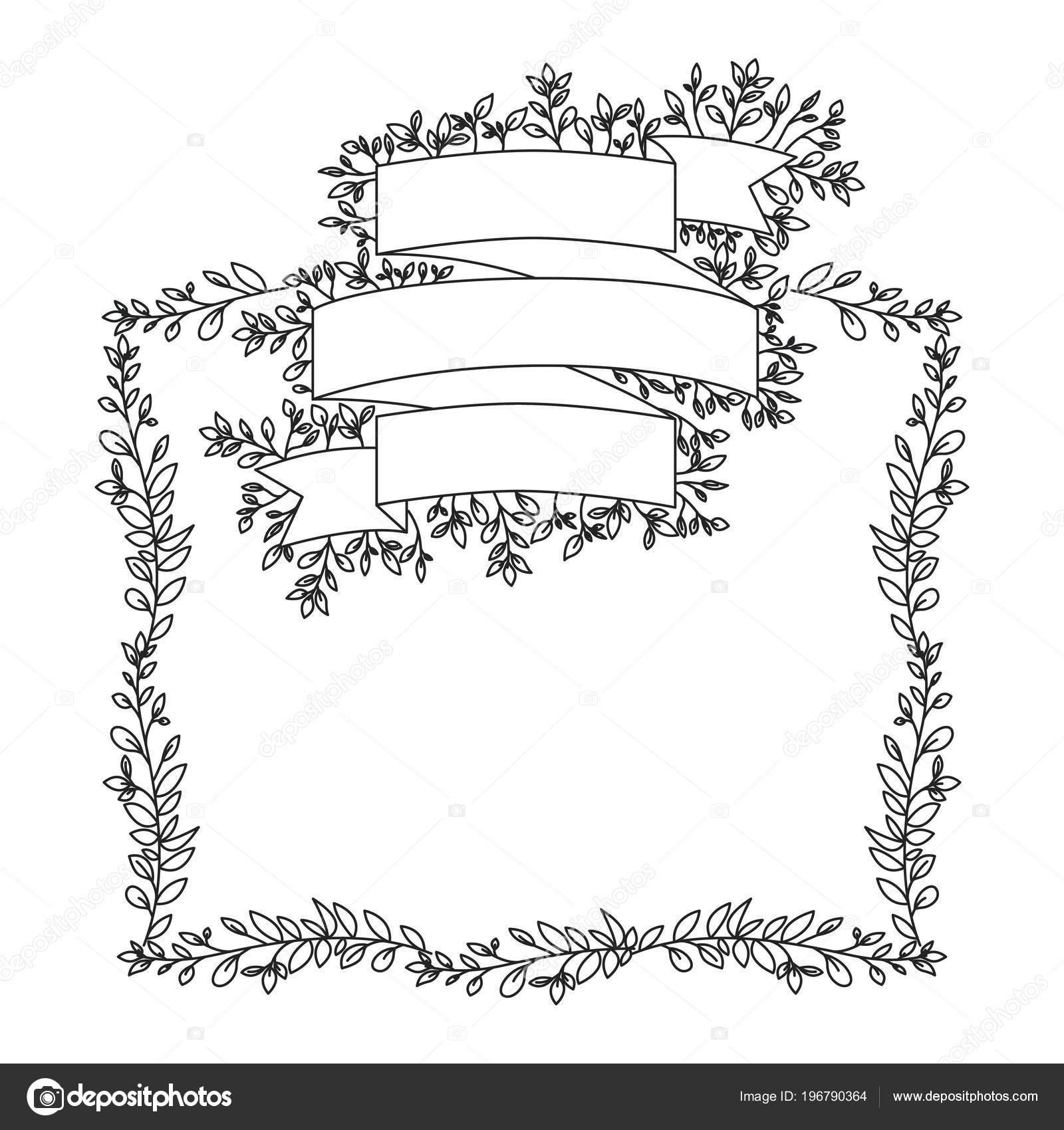 Kranz Blätter mit Schleife Rahmen — Stockvektor © grgroupstock ...