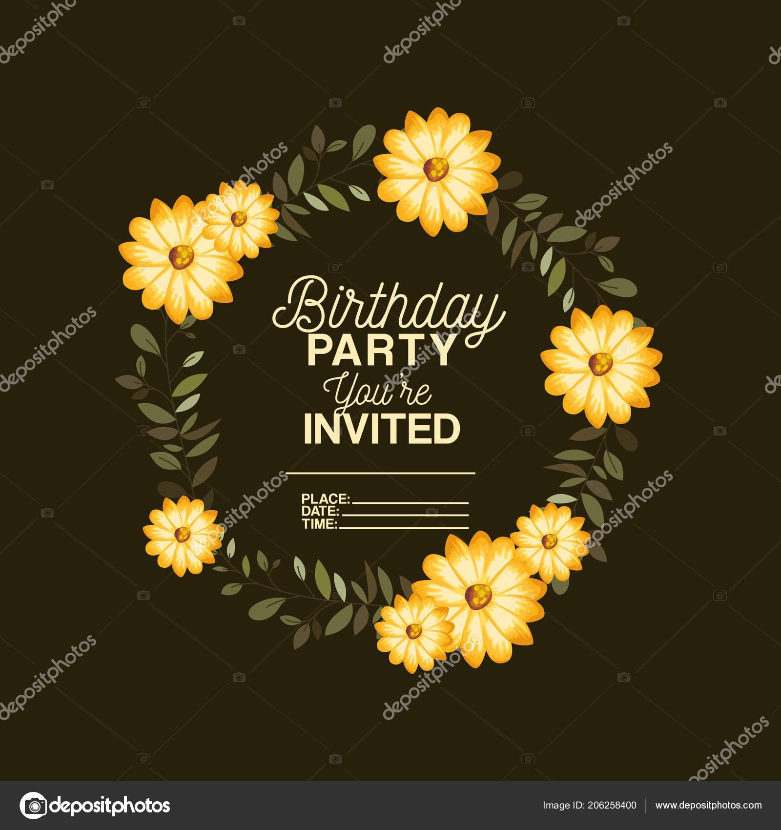 Birthday Party Invitation With Floral Decoration Stockvektor