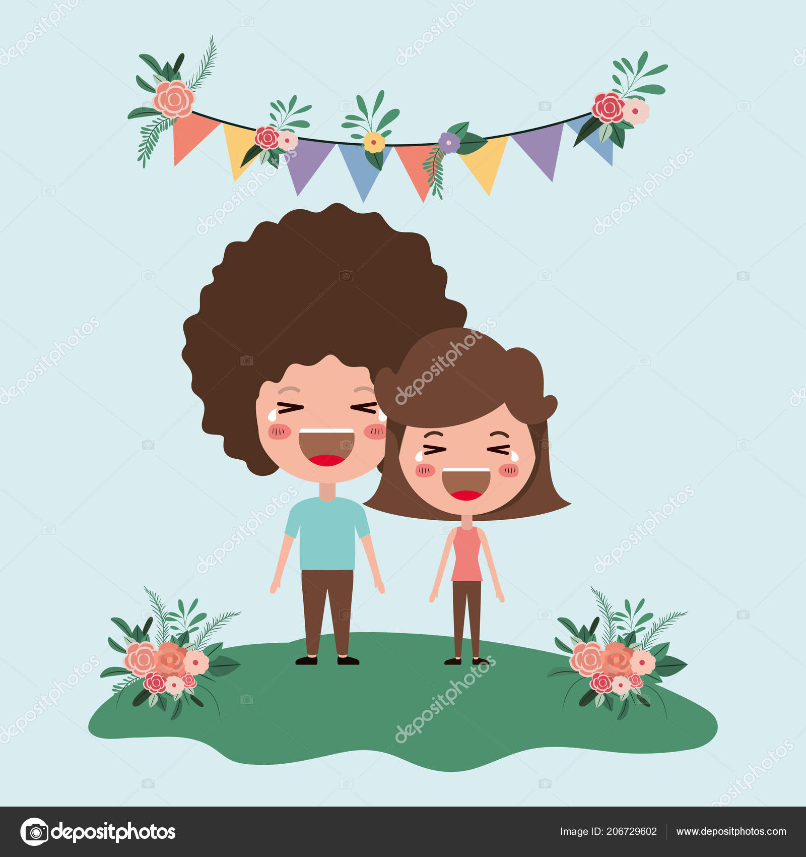 Wedding Invitation Card With Couple Characters Stock