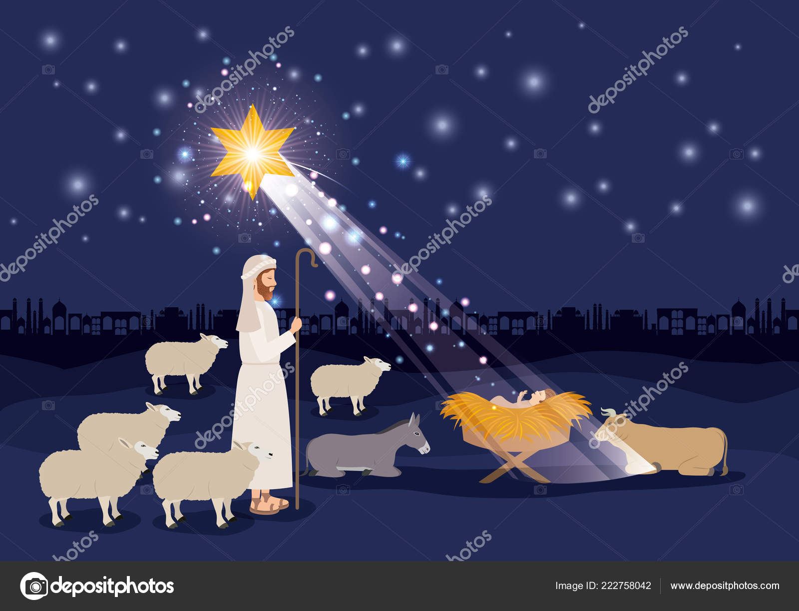Merry christmas card with jesus baby and sheeper — Stock Vector