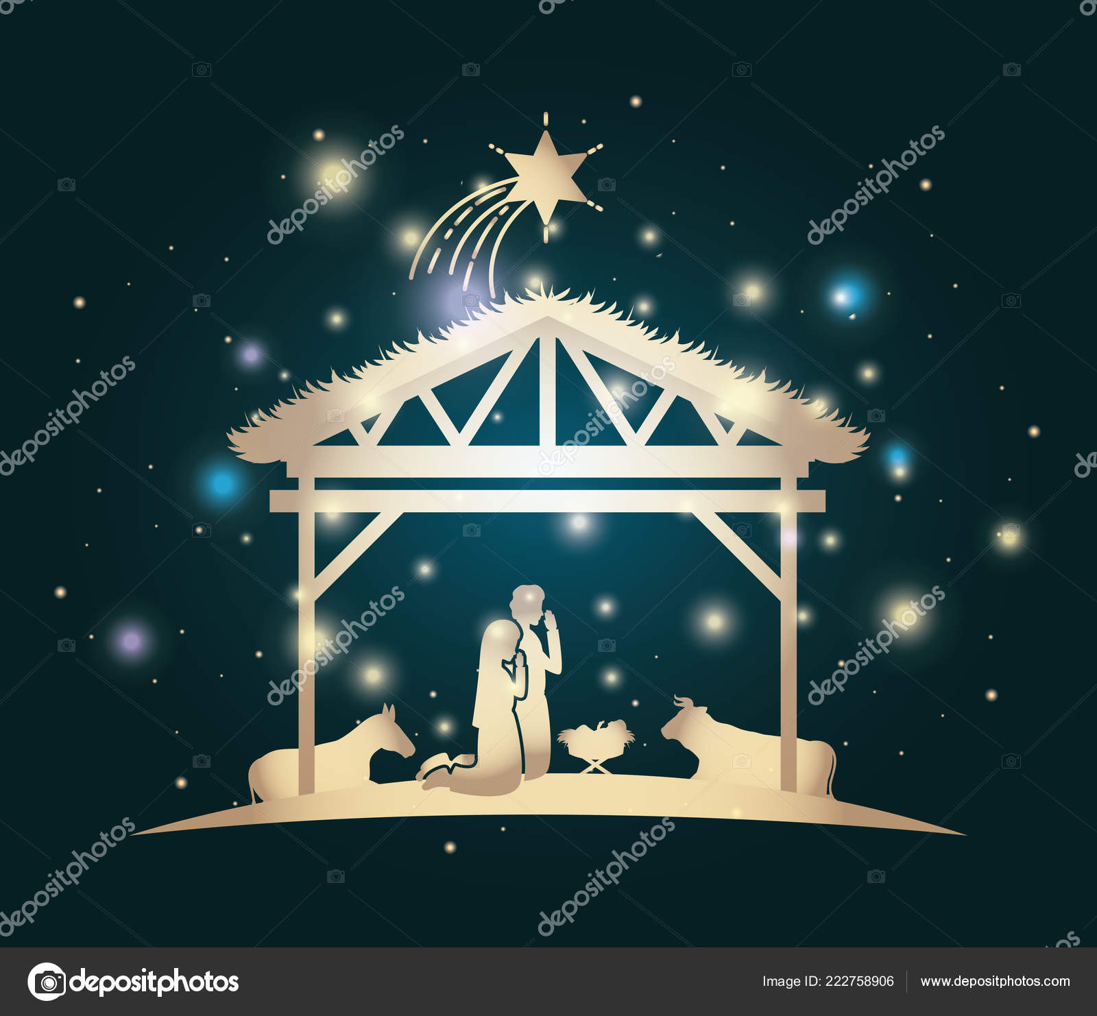 Christmas Card With Holy Family And Animals In Stable Stock Vector