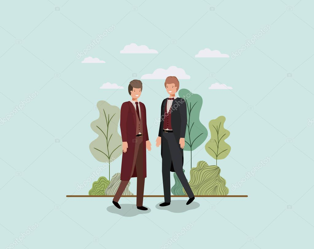 elegant businessmen walking in the park