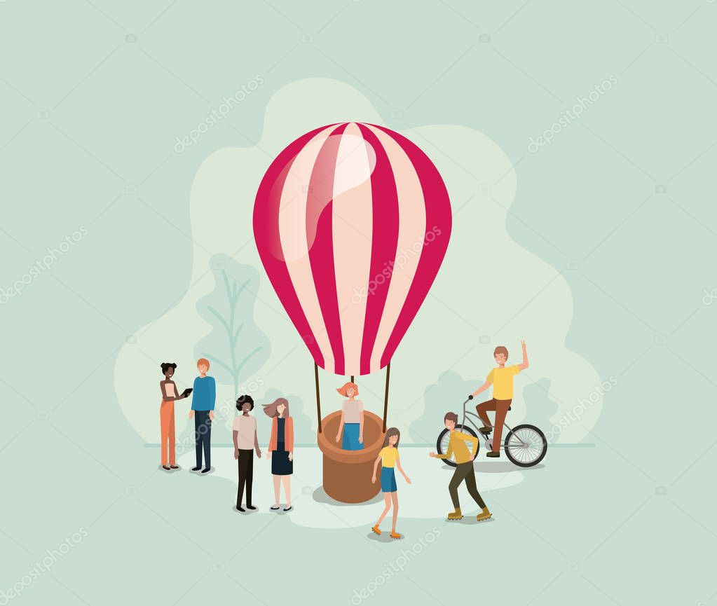 group of people with balloon air hot flying vector illustration desing