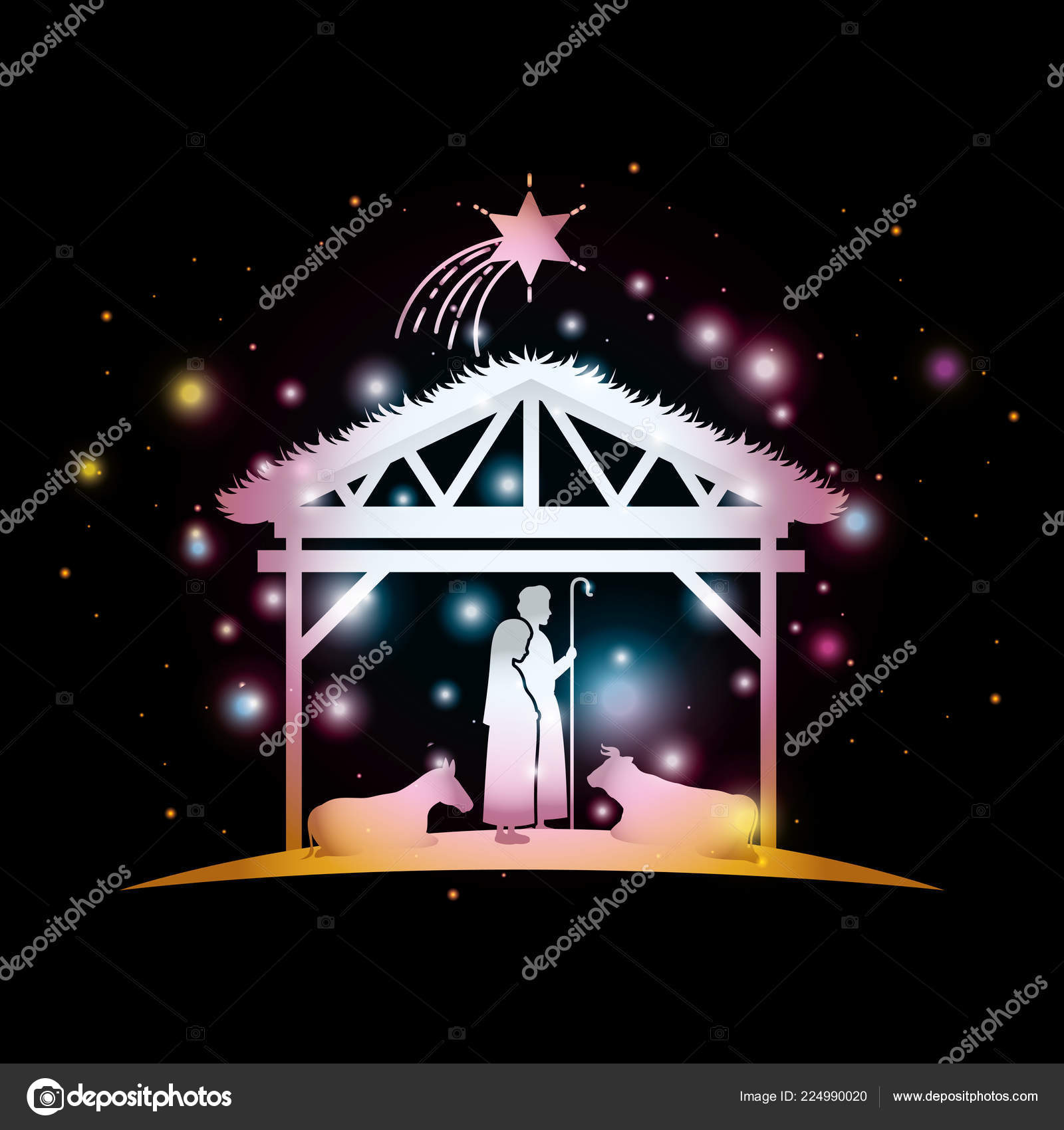 christmas card with holy family and animals in stable — Stock Vector ...