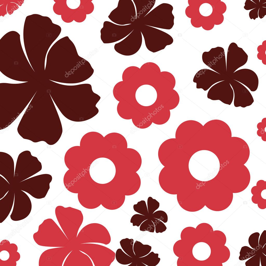 beautiful flowers decorative pattern isolated icon