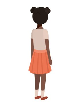 teenager black girl back avatar character