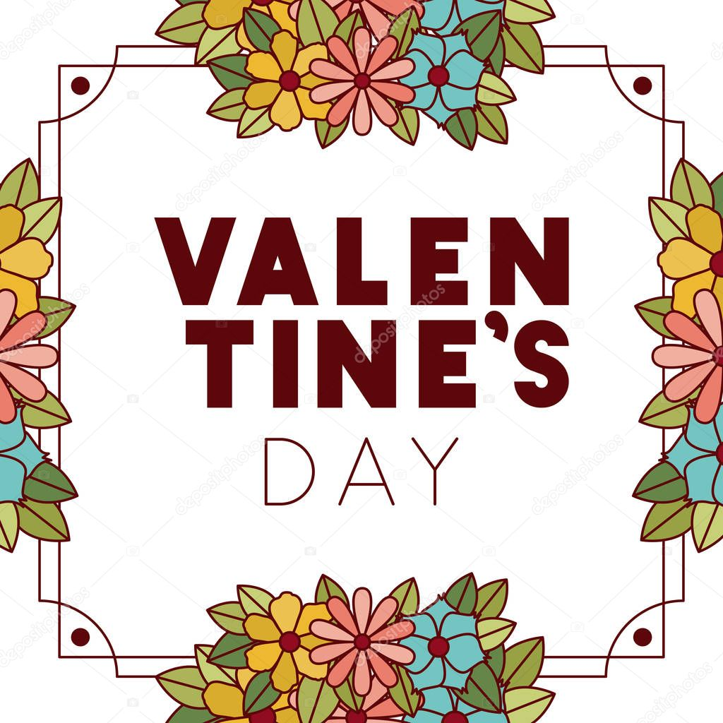 valennes day label with flower crown icons