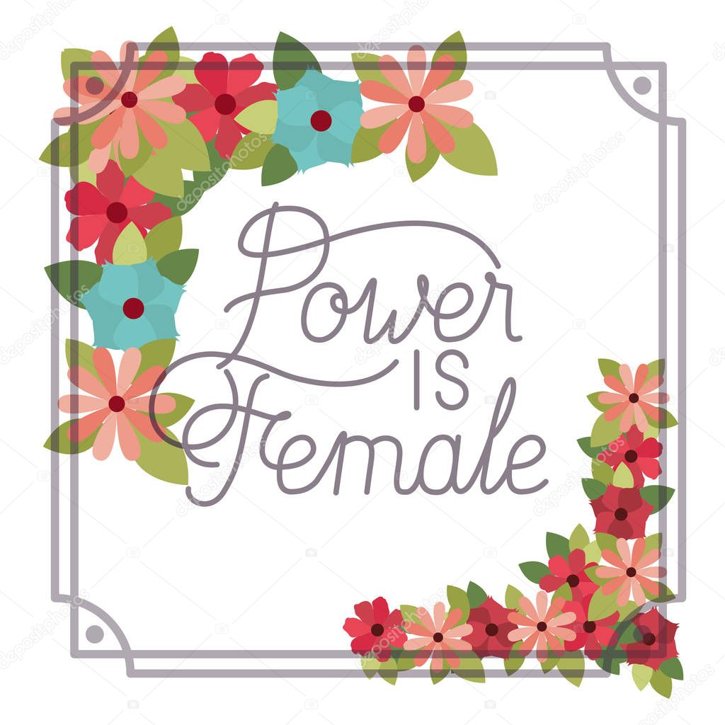 power is female label with flower frame isolated icon