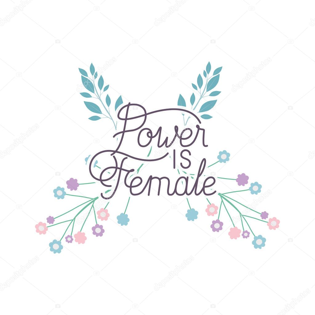 power is female label with flower  isolated icon