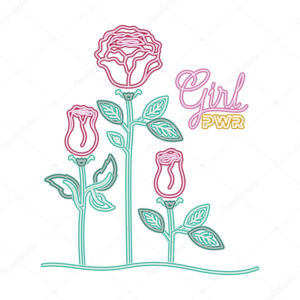 girl power label with pink isolated icon