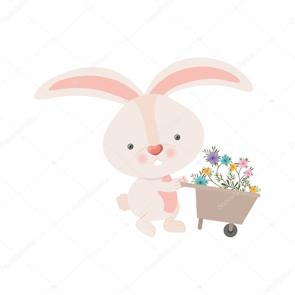 bunny with wheelbarrow and flowers isolated icon