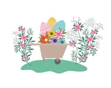 wheelbarrowwith easter eggs isolated icon