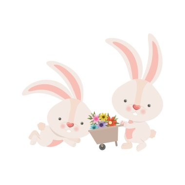 bunnies with wheelbarrow and flowers isolated icon