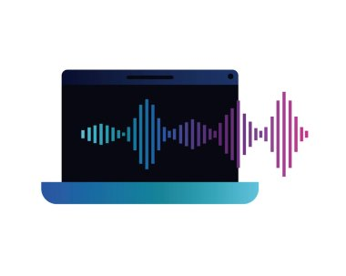 laptop with sound wave isolated icon