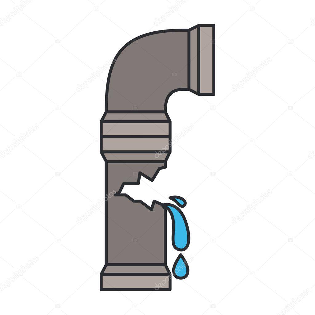 color image of water pipe broken