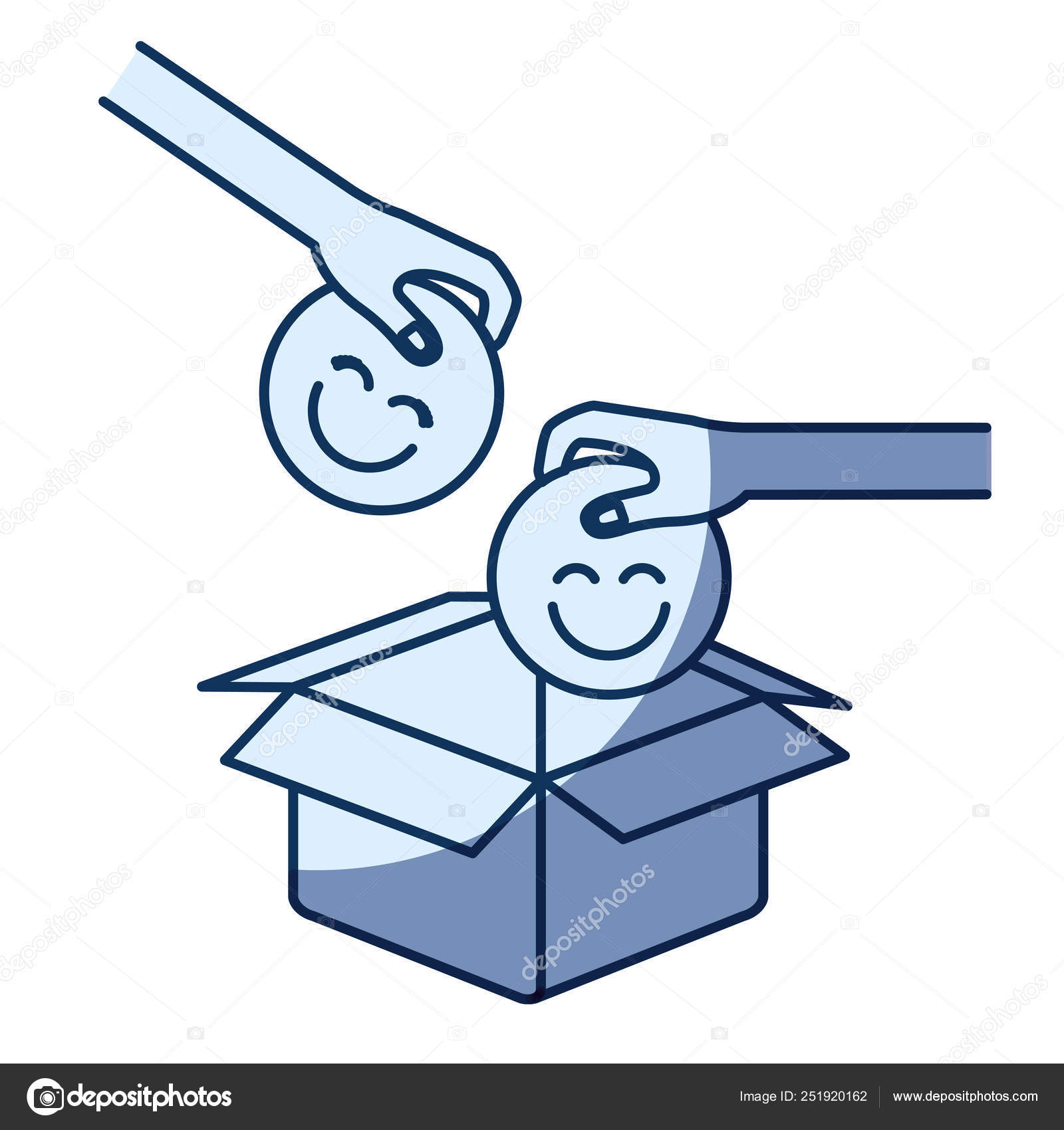 Blue Color Silhouette Shading Of Side View Of Pair Hands Holding A Happy Faces Symbol To Deposit In Cardboard Box Stock Vector C Grgroupstock 251920162