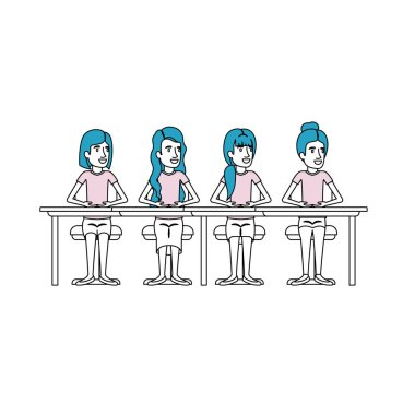 color sections silhouette of teamwork of women sitting in desk