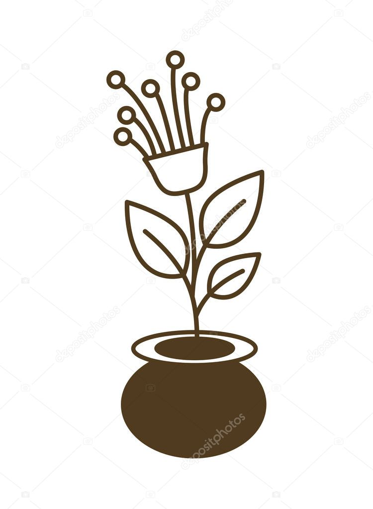 small tree with flower isolated icon