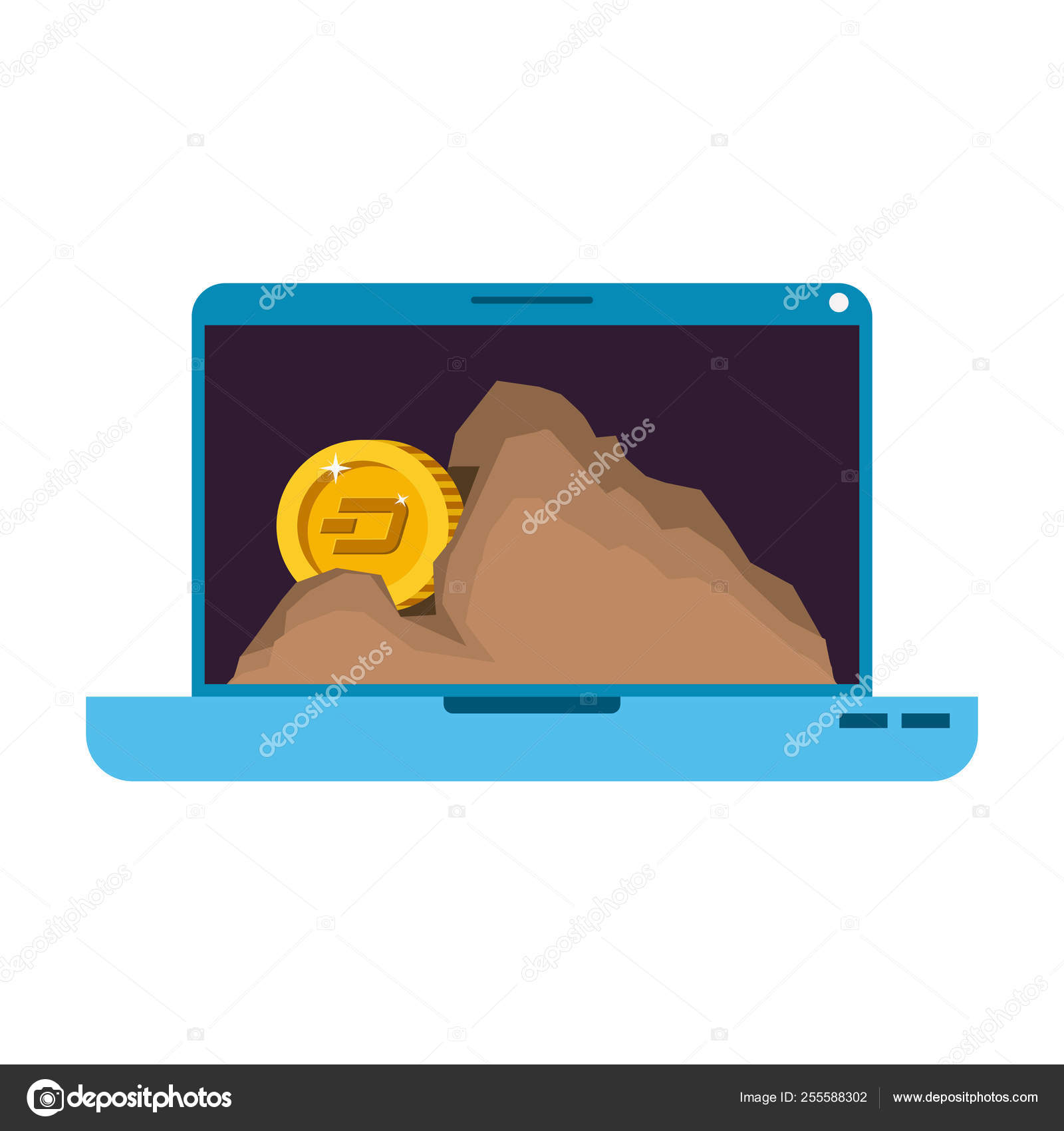 Laptop with dash money in mountain mining — Stock Vector