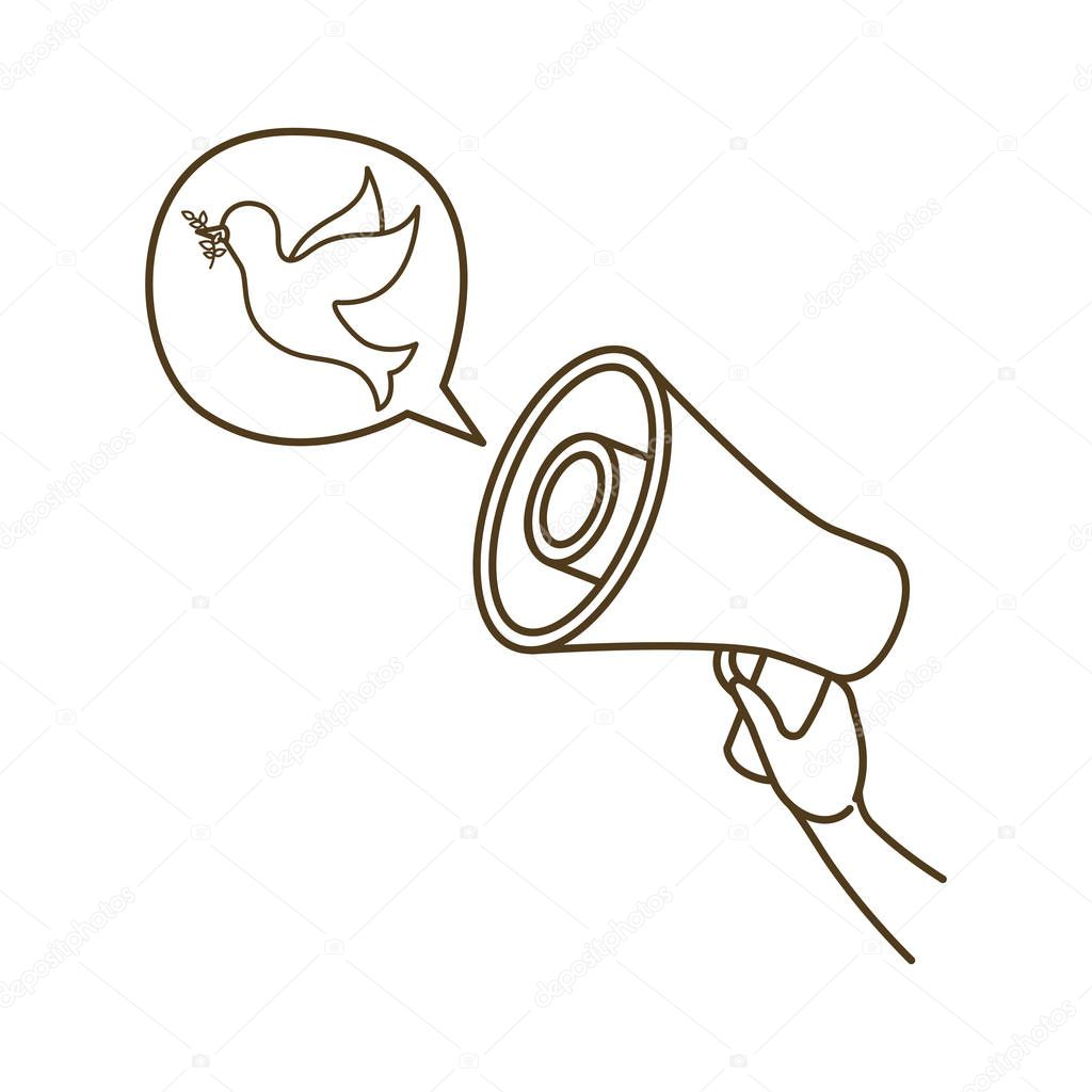 megaphone in hand with speech bubble isolated icon