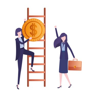 businesswomen with dollar sign and stair character