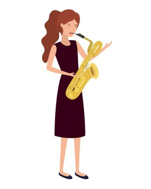 young woman with saxophone character