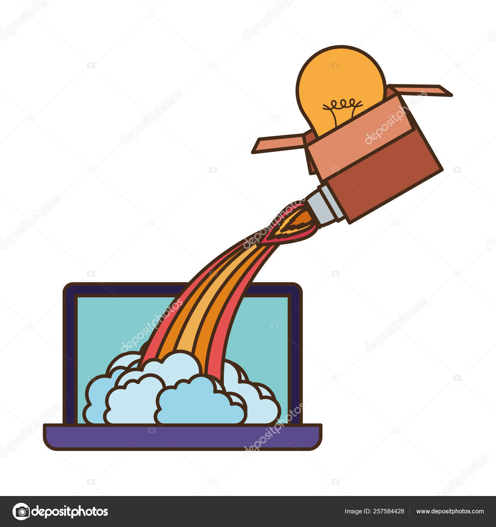 Latop screen and box with bulbs rocket — Stock Vector