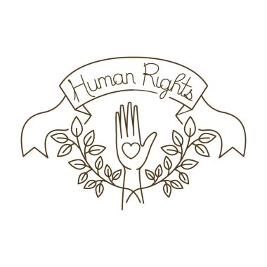 open hands with human rights with heart avatar character