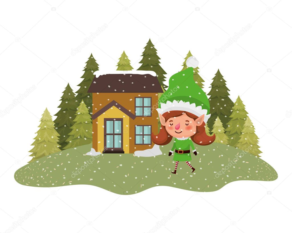 House With Pine Trees Falling Snow And Elf Woman Vector Illustration Design Premium Vector In Adobe Illustrator Ai Ai Format Encapsulated Postscript Eps Eps Format Find & download free graphic resources for trees cartoon. wdrfree