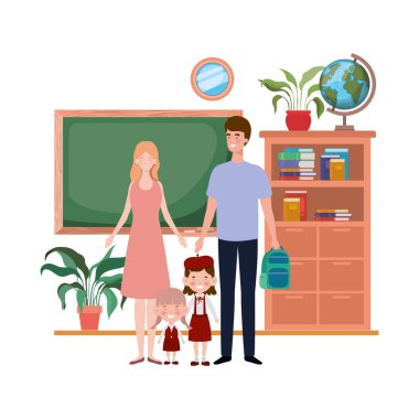 couple of parents with children avatar character