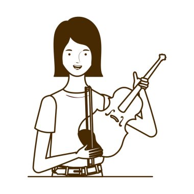 silhouette of woman with fiddle on white background