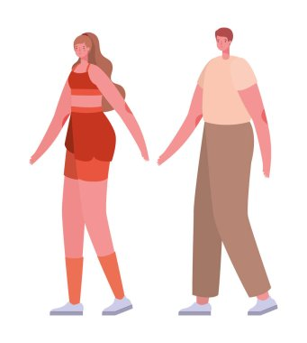 Couple of woman and man cartoon with sportswear vector design