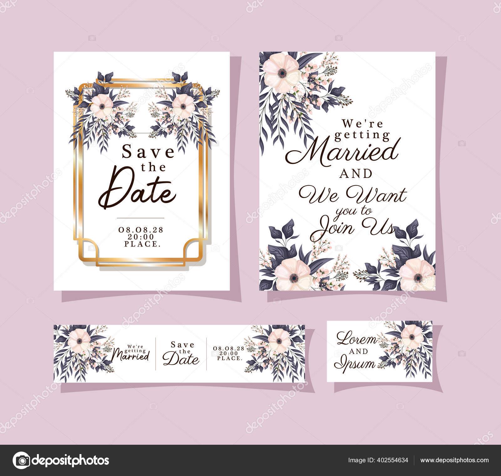 undangan pernikahan diatur dengan bingkai ornamen emas dan bunga putih dengan desain vektor daun stok vektor c grgroupstock 402554634 depositphotos