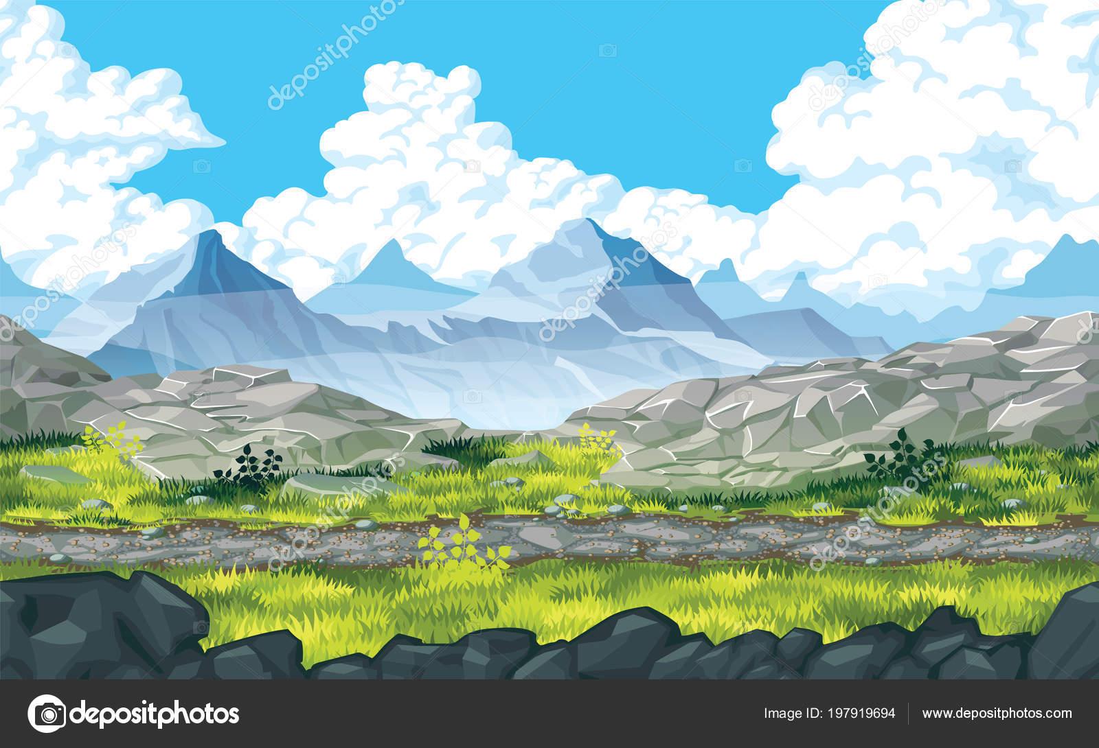 Sfondo di un paesaggio con rocce e montagne u vettoriali stock