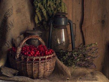 Village still life with basket, viburnum, herbs and gas lantern on old sackcloth