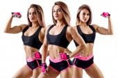 Koláž ženské sportovní přísahy ukázala její svalnaté atletické tělo.