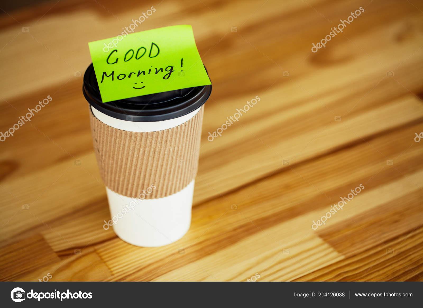 Guten Morgen Kaffee Zeit Kaffee Zum Mitnehmen Und Bohnen Auf