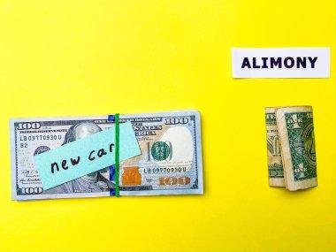 Konsept nafaka ödemesini gösterir, çocuk için ayrılan para