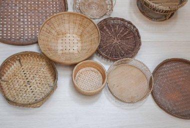 Traditional Thai handicrafts of bamboo and bai lan.