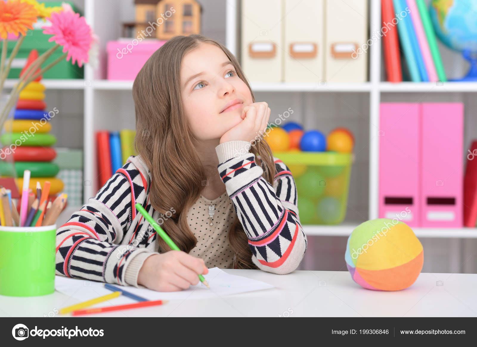 prodigious Cute Little Teen Girls Part - 17: Cute little girl doing homework u2014 Stock Photo
