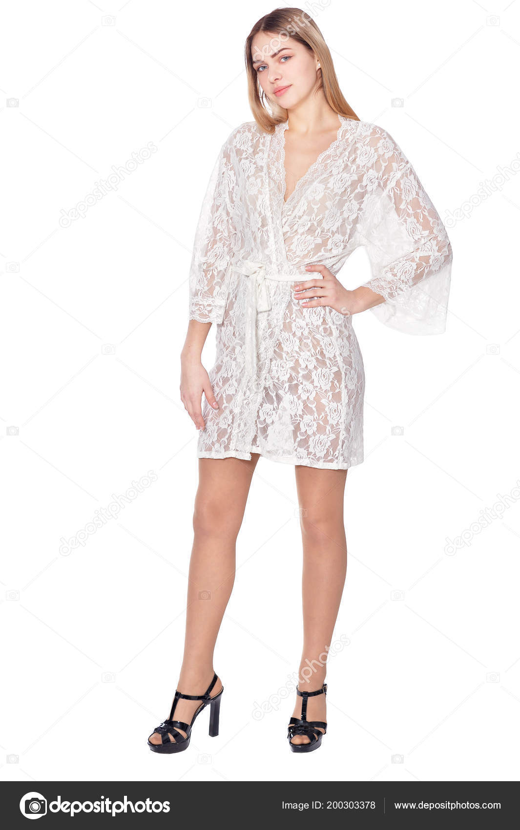 Portrait Beautiful Woman Dressing Gown Posing Isolated White — Stock ...