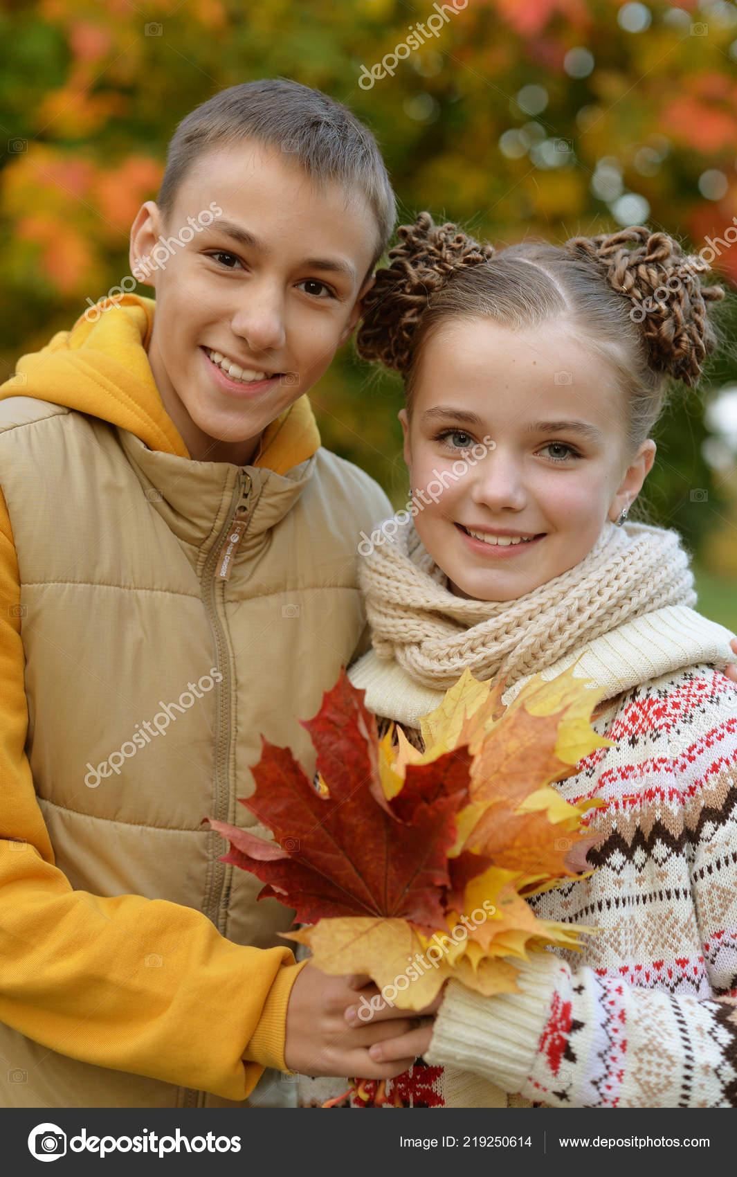 Cute Brother Sister Autumn Park Stock Photo Aletia 219250614