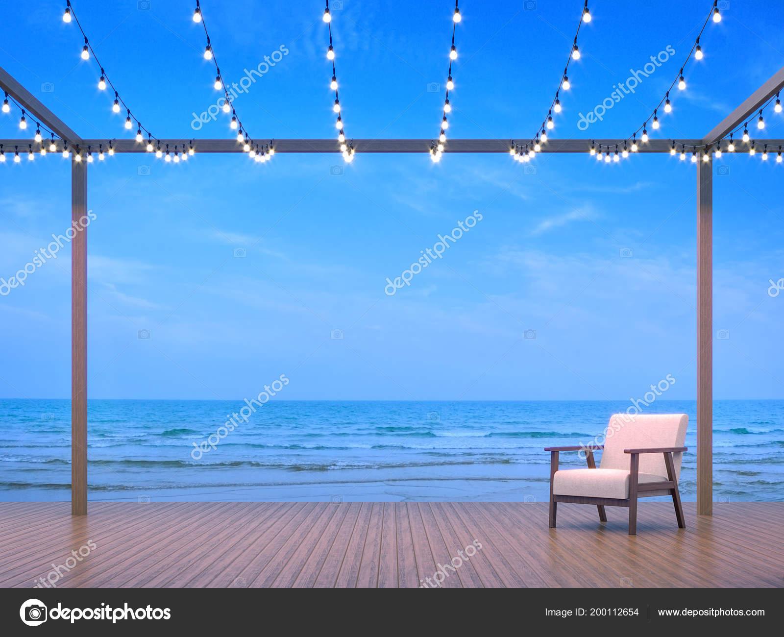 Seaside Terrace Render Wooden Floor Decorate String Light