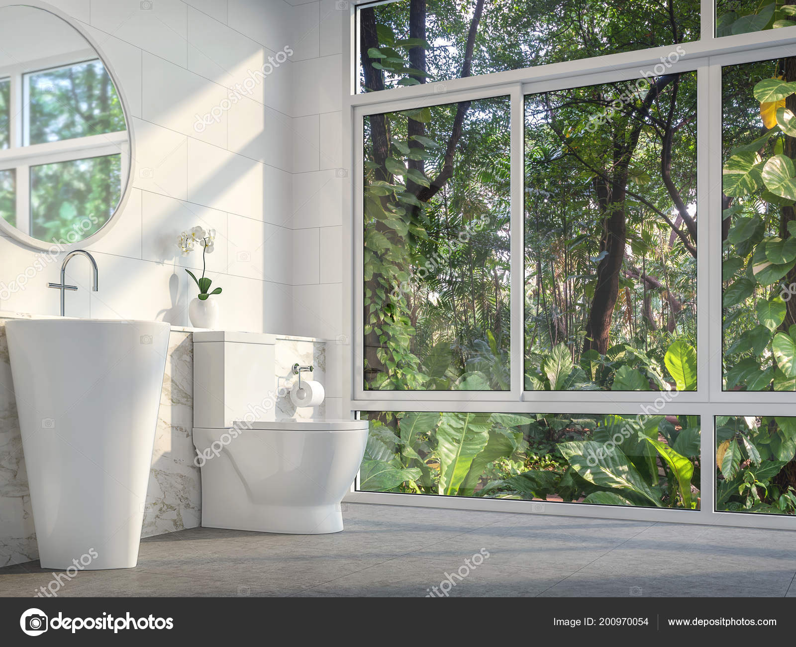 . Modern Toilet Nature View Render Concrete Tile Floor Room Has