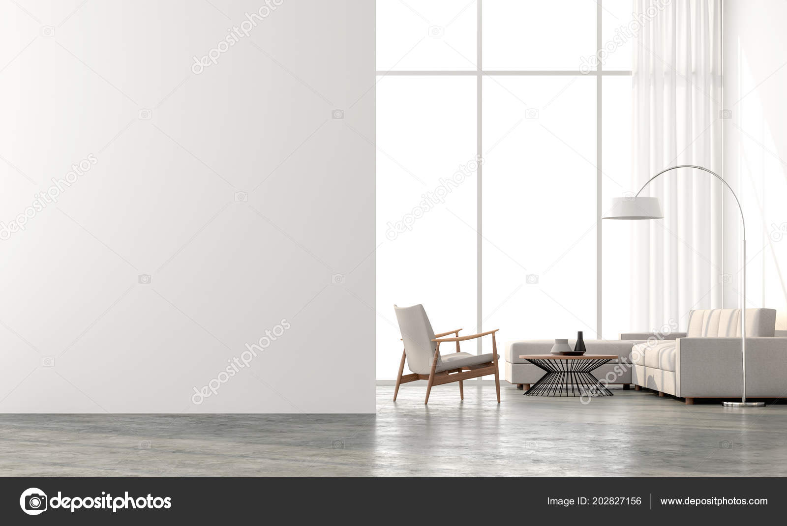 Betonnen Vloer Woonkamer : Minimalistische stijl woonkamer render zijn betonnen vloer witte