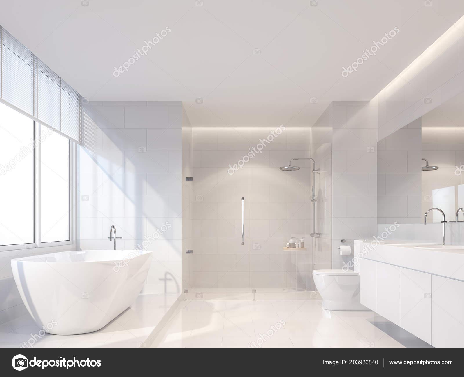 Nowoczesne Luksusowe Biały Render łazienki Tam Białe Płytki