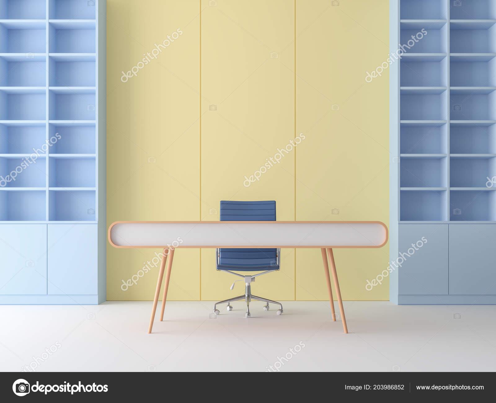 Pastel Moderne Couleur Rendu Salle Woking Blanc Floorand Jaune Mur